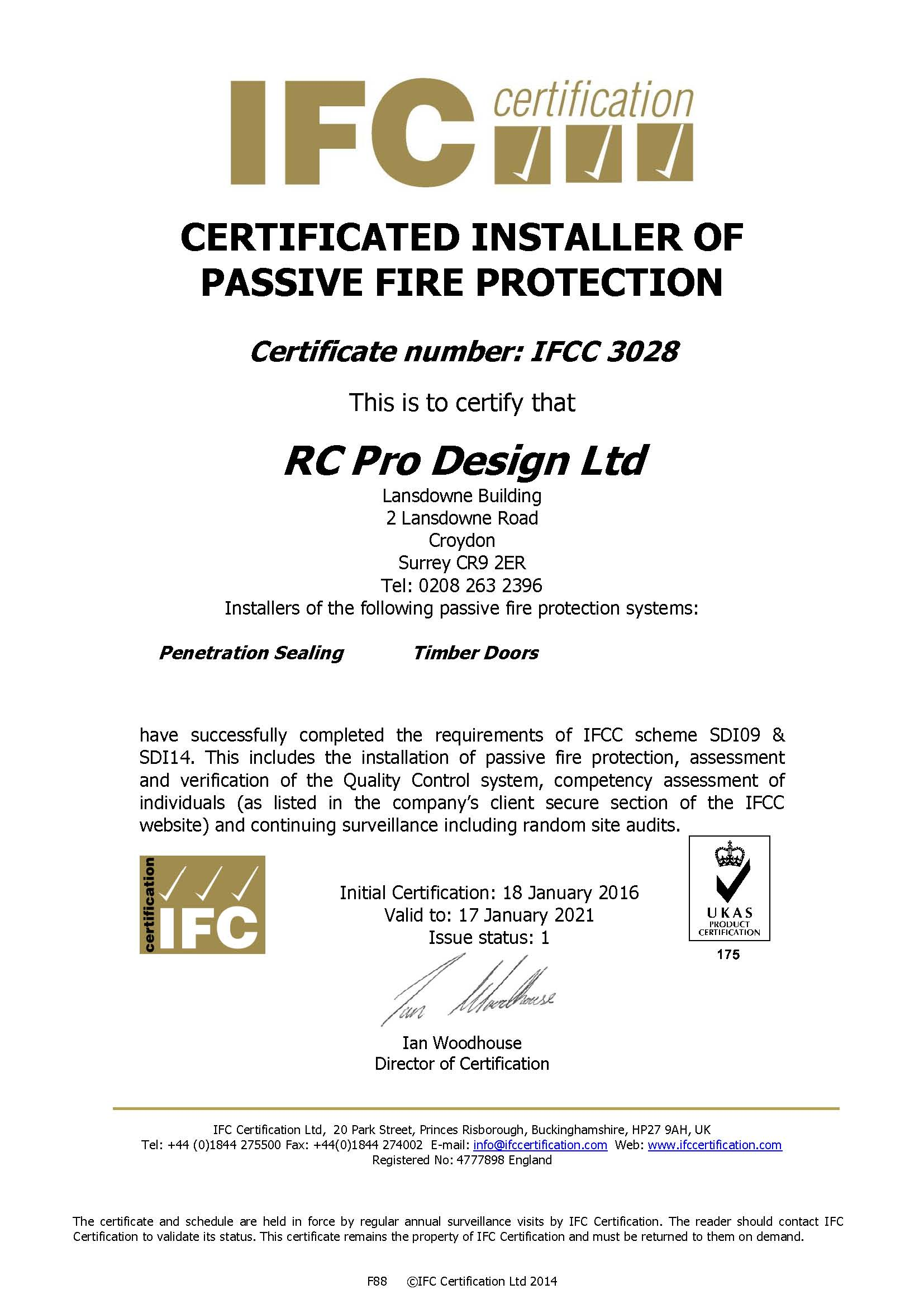Certificated Installer Of Passive Fire Protection
